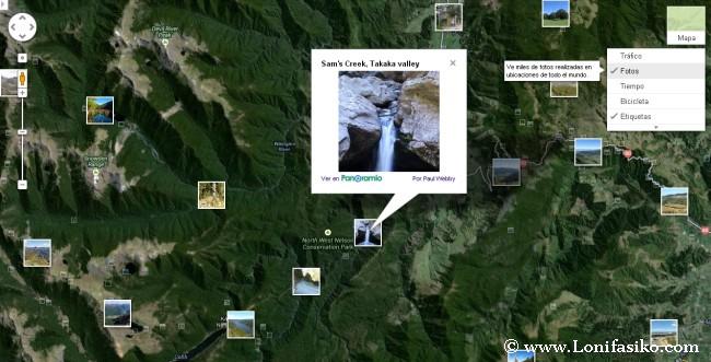 Google Maps con la capa de fotos activada
