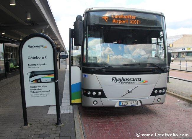 Autobús de Flygbussarna para ir desde el aeropuerto de Landvetter al centro de Göteborg