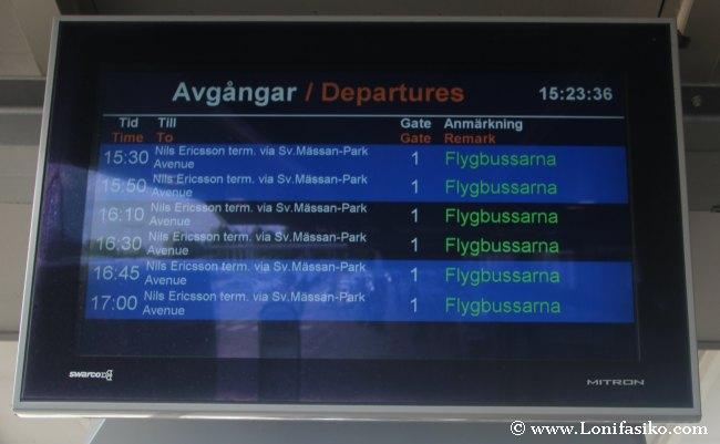 Horarios de los autobuses de Flygbussarna dirección Góteborg centro