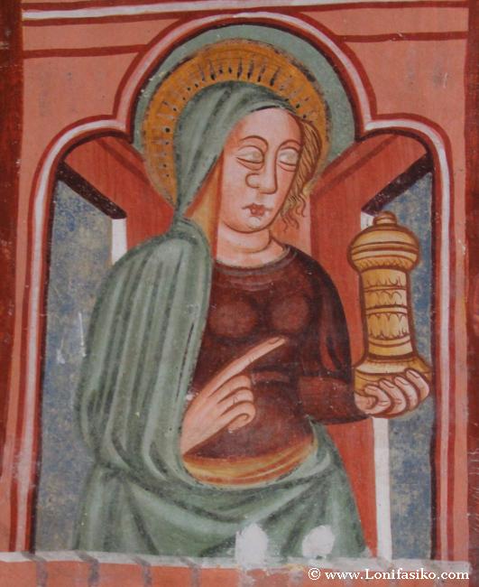 Lago Bohinj iglesia pinturas