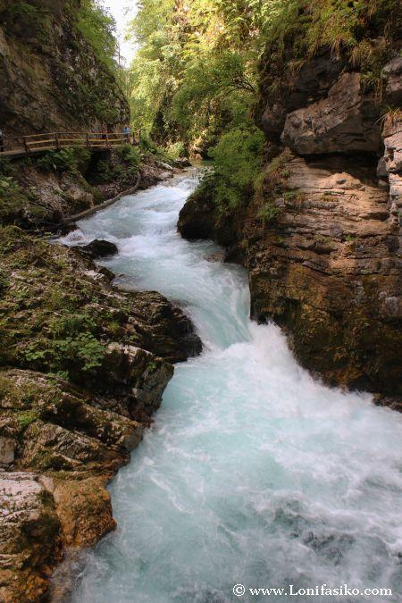 Canal estrecho de turbulencias en el río Radovna