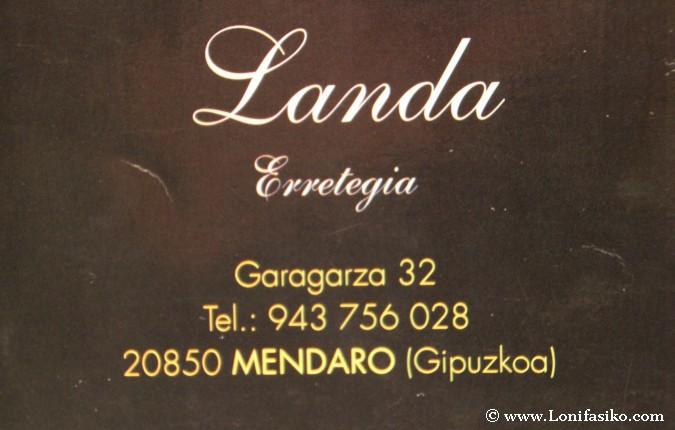 Carta del restaurante asador Landa