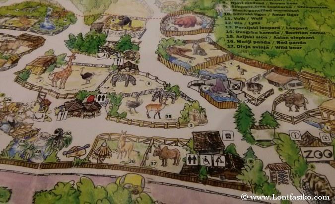 Mapa de animales del zoo de Liubliana