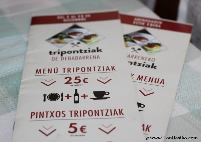 Menú Tripontziak en Debabarrena