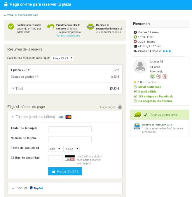BlaBlaCar: Reserva de plaza y pago seguro