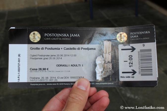Cueva Postojna Precio Entrada tickets taquilla