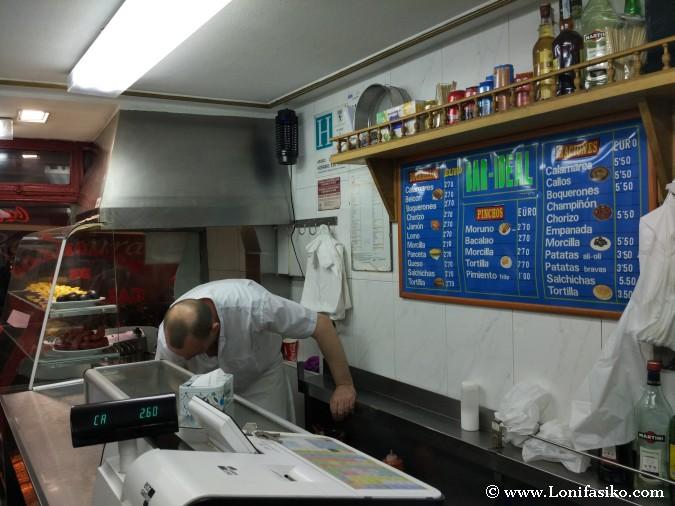 Bocadillos, raciones, pinchos y tapas en Madrid