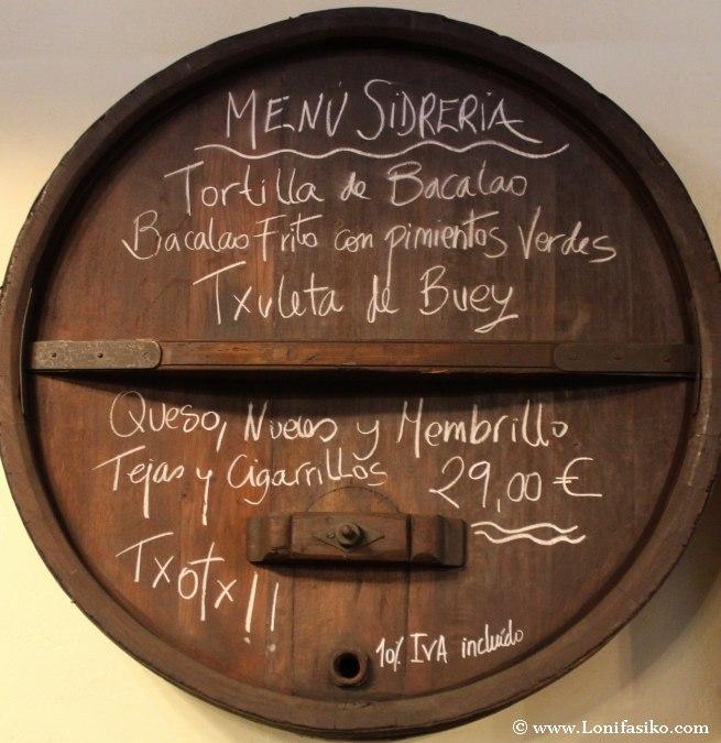 Menú típico sidrería vasca Euskadi