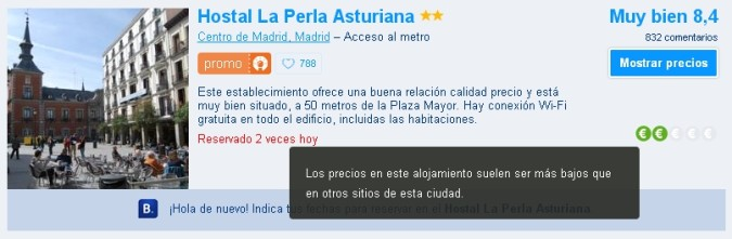 Hostal La Perla Asturiana Madrid en Booking