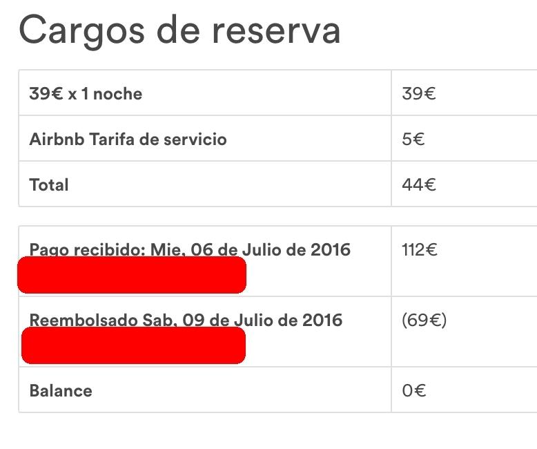 Airbnb recibo
