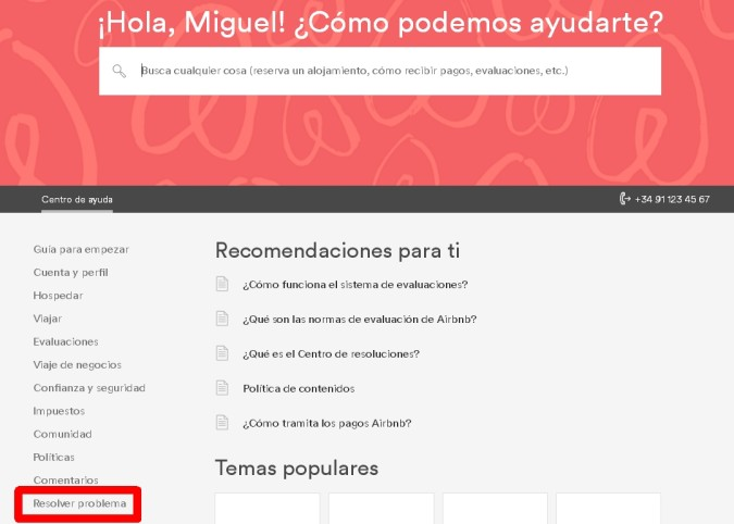 Airbnb problema reportar