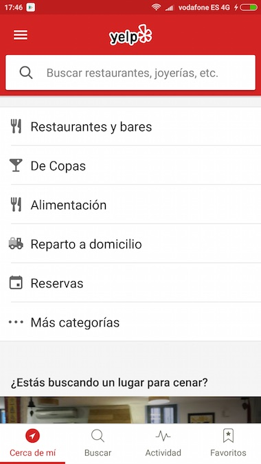Yelp app restaurantes