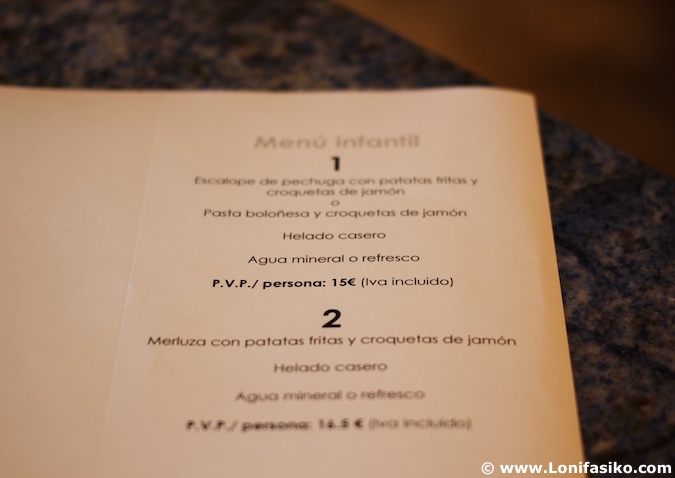 Bistró Guggenheim Bilbao restaurante menu infantil niños