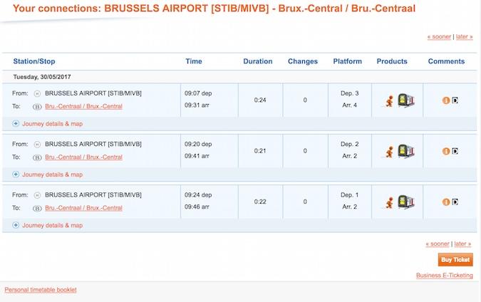 Comprar billete tren aeropuerto bruselas centro