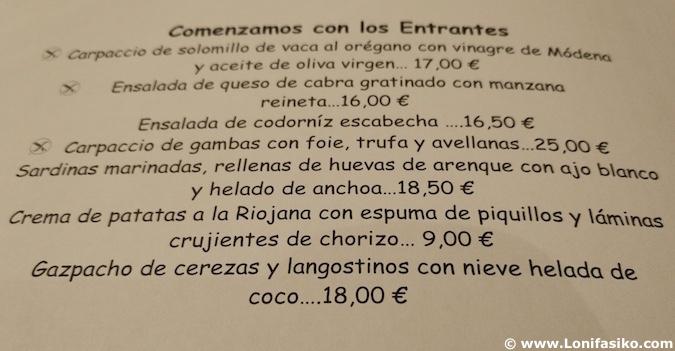Casa Toni Restaurante Carta San Vicente Sonsierra