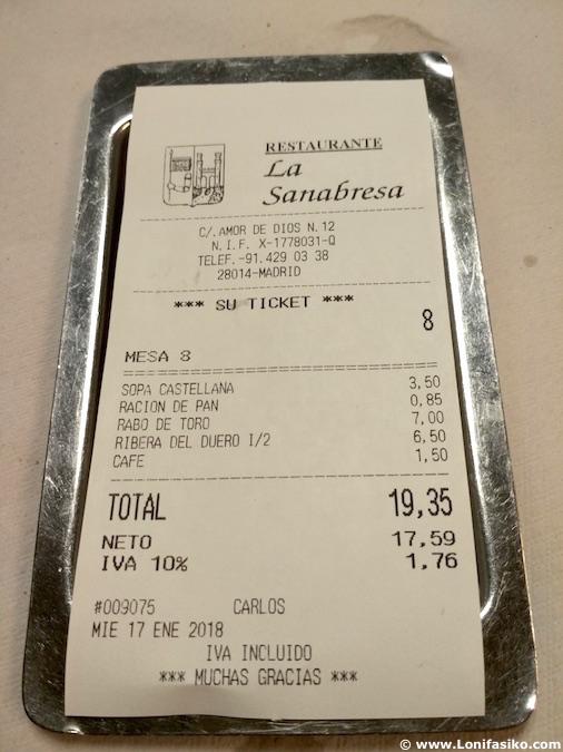 la sanabresa restaurante madrid review precio menu