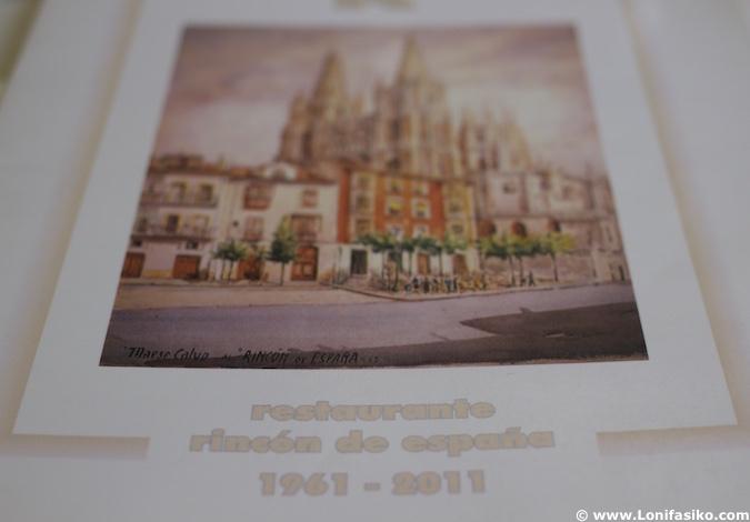 Carta restaurante Rincón de España en Burgos