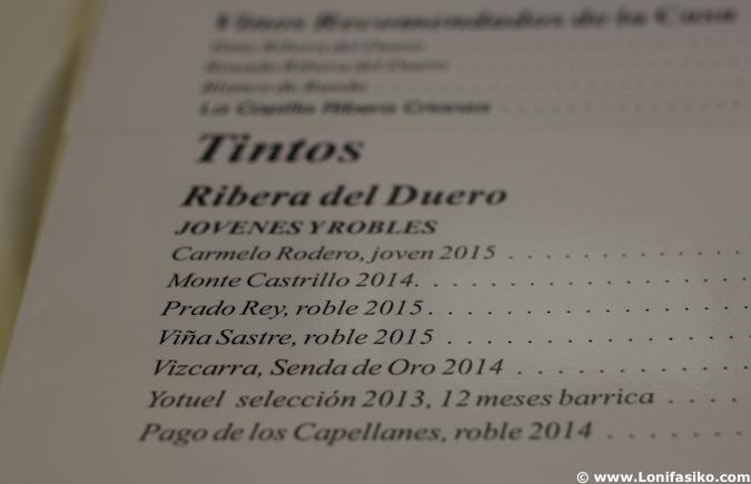 Carta vinos del restaurante Rincón de España en Burgos
