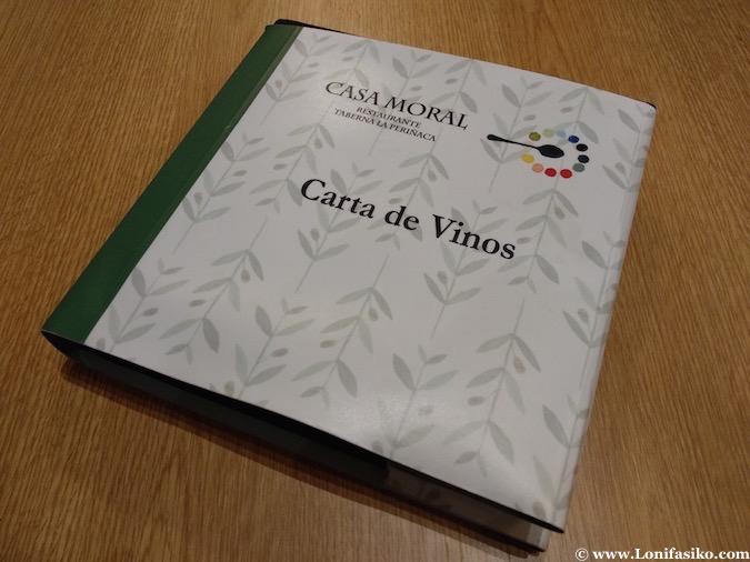 Carta de vinos Casa Moral los palacios