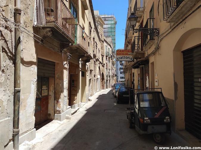 Calles Trapani en Sicilia