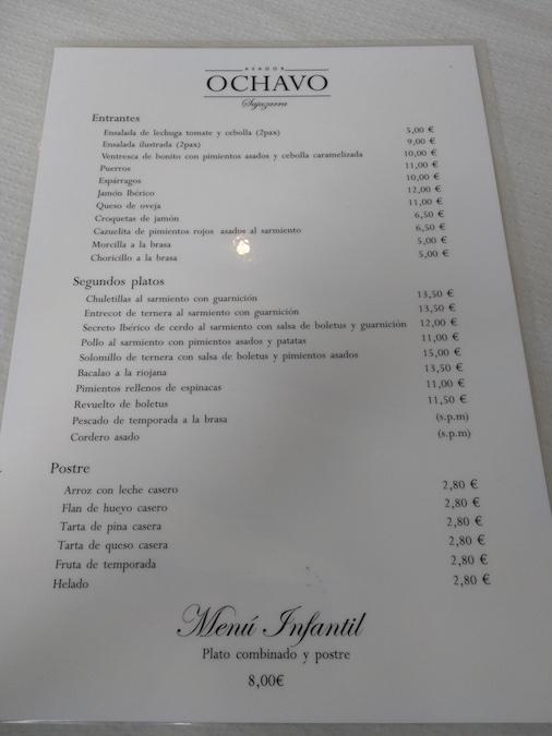 restaurante asador ochavo sajazarra carta