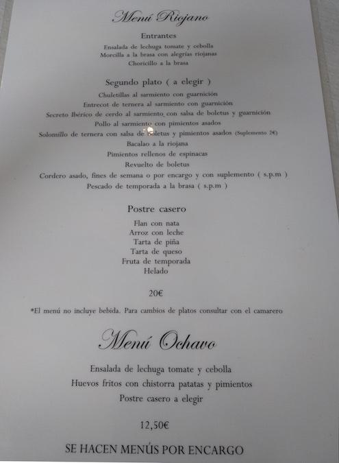 restaurante asador ochavo sajazarra menu riojano