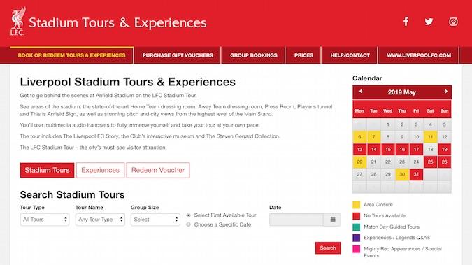 Reservar tours de Anfield en la web oficial del Liverpool