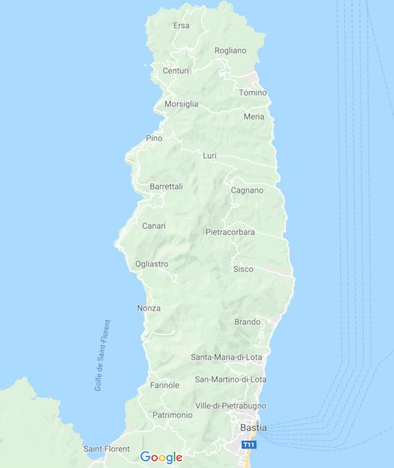 Mapa de Cap Corse o Cabo Corso en Córcega