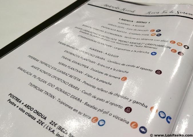 restaurante guria jatetxea elorrio menu precios