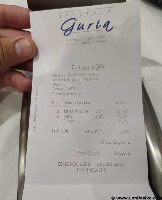 restaurante guria jatetxea elorrio opiniones