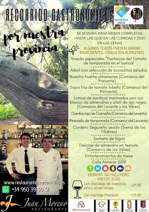 Menu degustación en Restaurante Juan Moreno en Vera (Almería)
