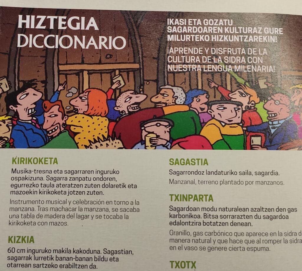 Sagardomapa diccionario sidra vasca