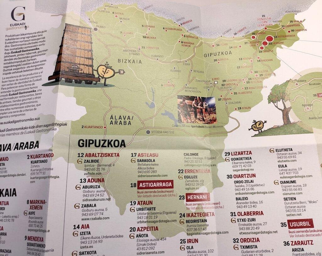 Sagardomapa mapa sidrerías País Vasco