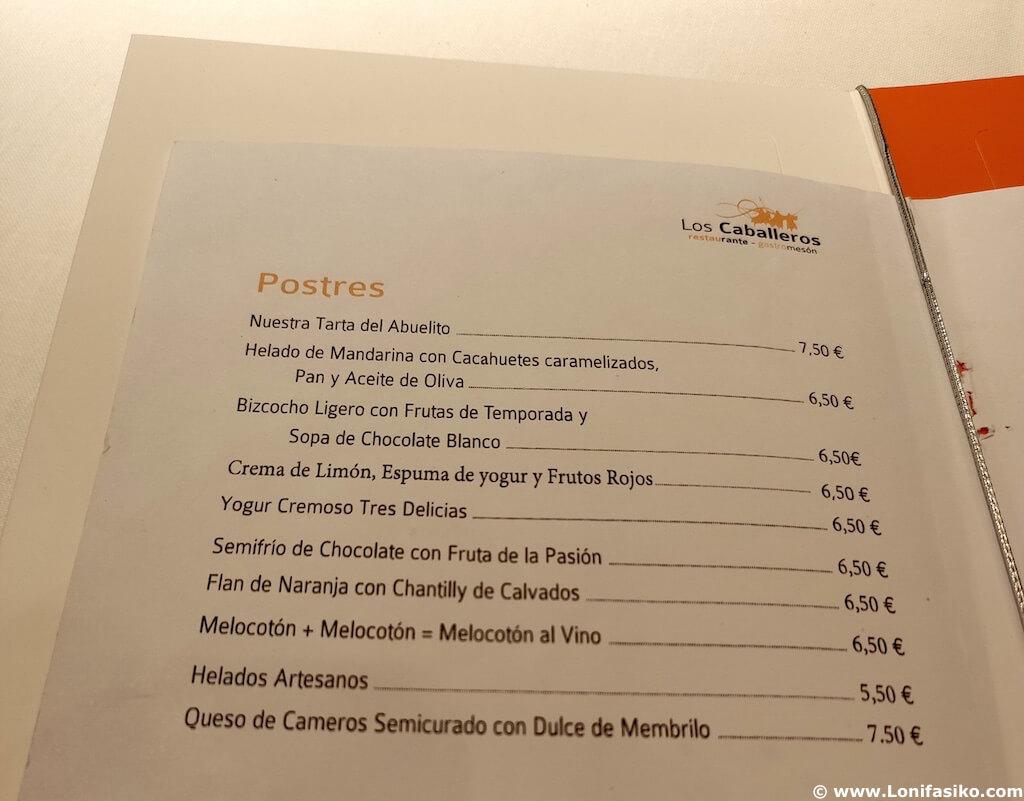 Postres Restaurante Los Caballeros en Santo Domingo de La Calzada