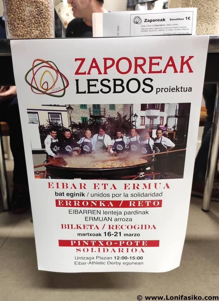 Recogida de alimentos en Eibar-Ermua proyect Zaporeak campo de refugiados de Moria-Lesbos
