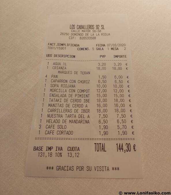 precios restaurante Los Caballeros en Santo Domingo de La Calzada