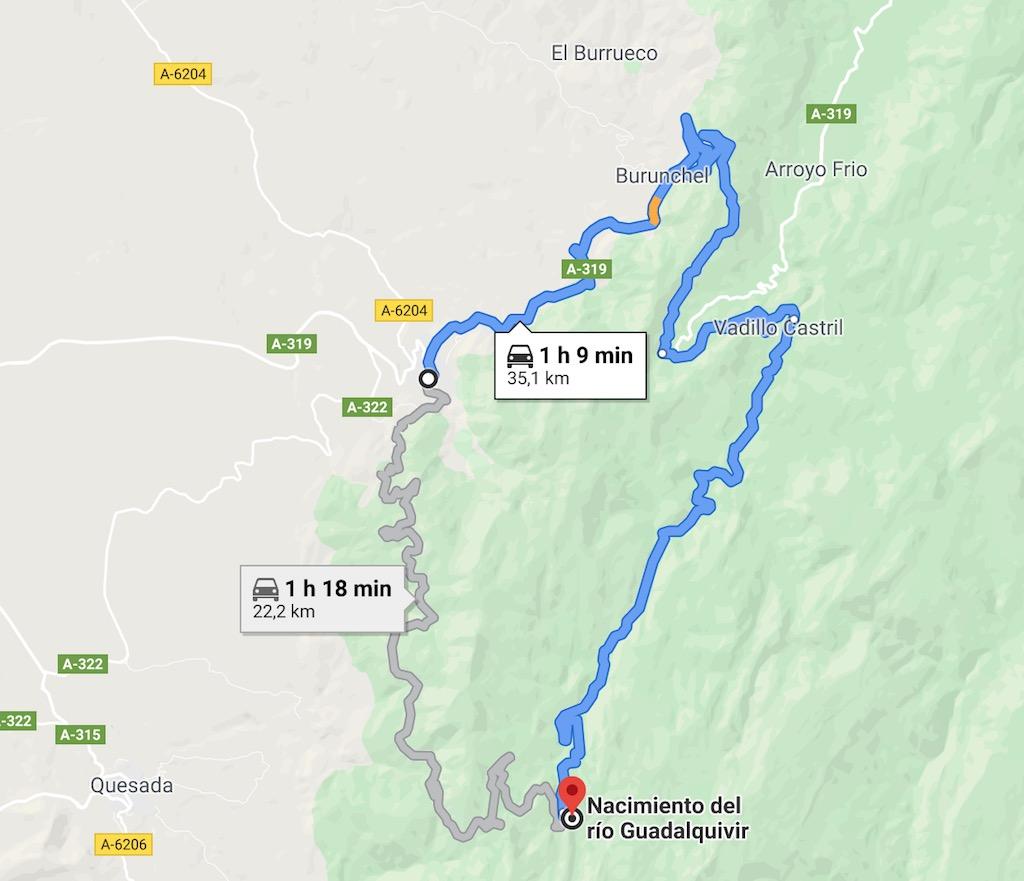 se puede ir en coche al nacimiento del rio guadalquivir