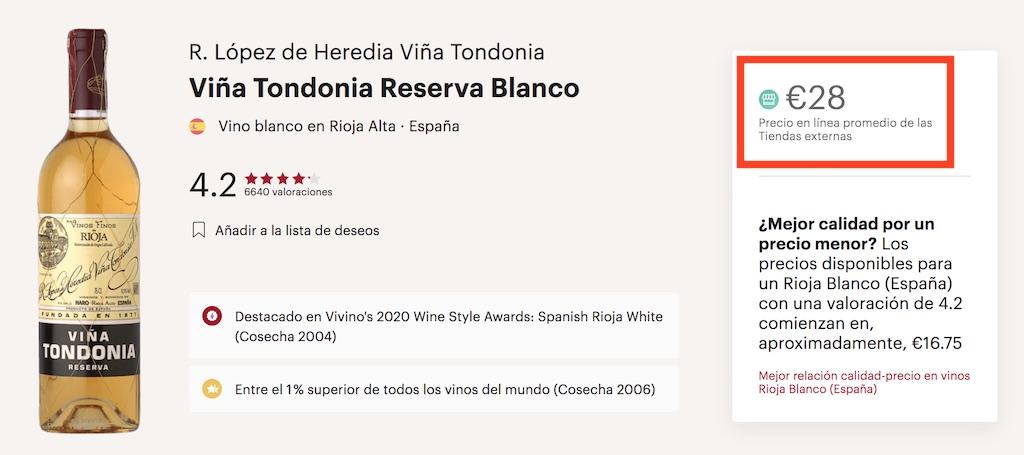 comprar viña tondonia blanco online vivino
