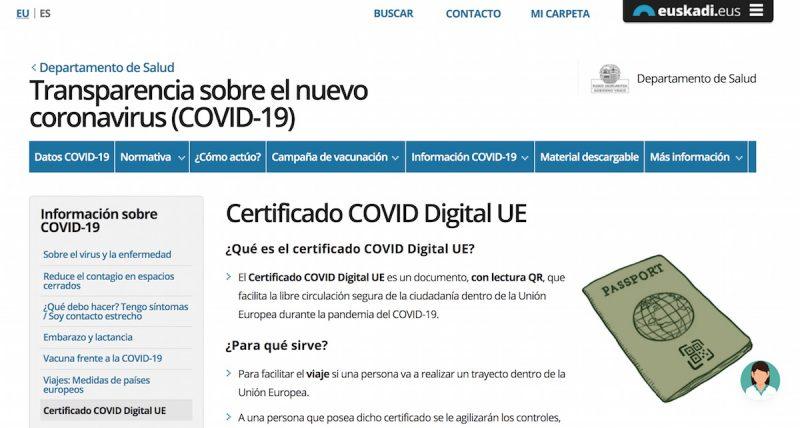 Dónde obtener el pasaporte Covid en Euskadi online