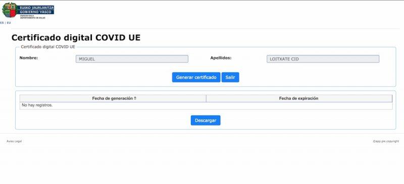 Obtener pasaporte Covid en Euskadi online